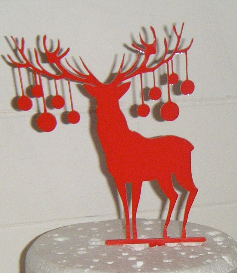 Christmas Stag with baubles Silhouette Cake Topper