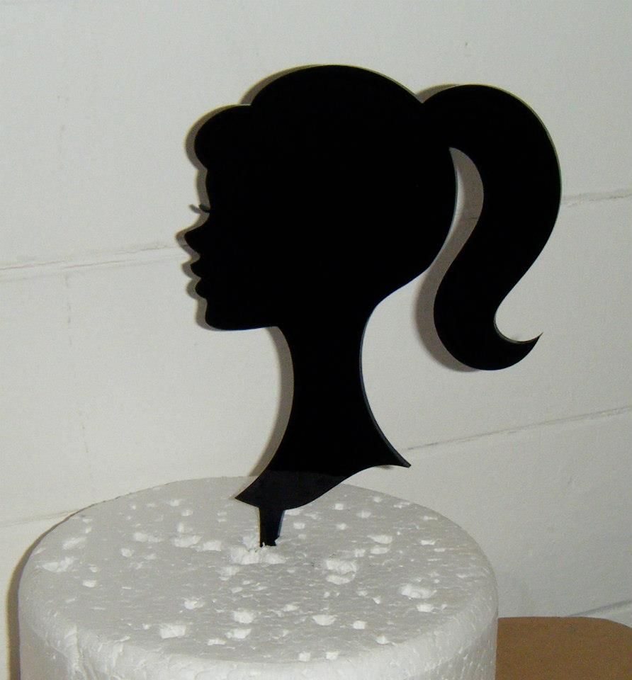 Girl Head Topper Silhouette Cake Topper