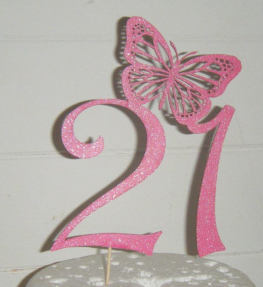 21 with Butterfly Cake Topper