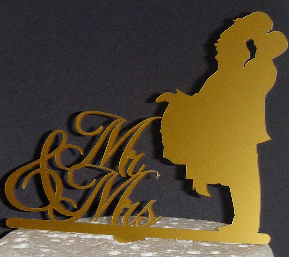Mr & Mrs Wedding couple Silhouette Cake Topper 2