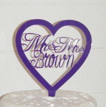 Mr + Mrs Name Heart  Cake Topper  2