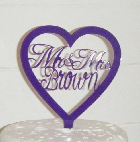 Mrs + Mr Name Heart  Cake Topper  2