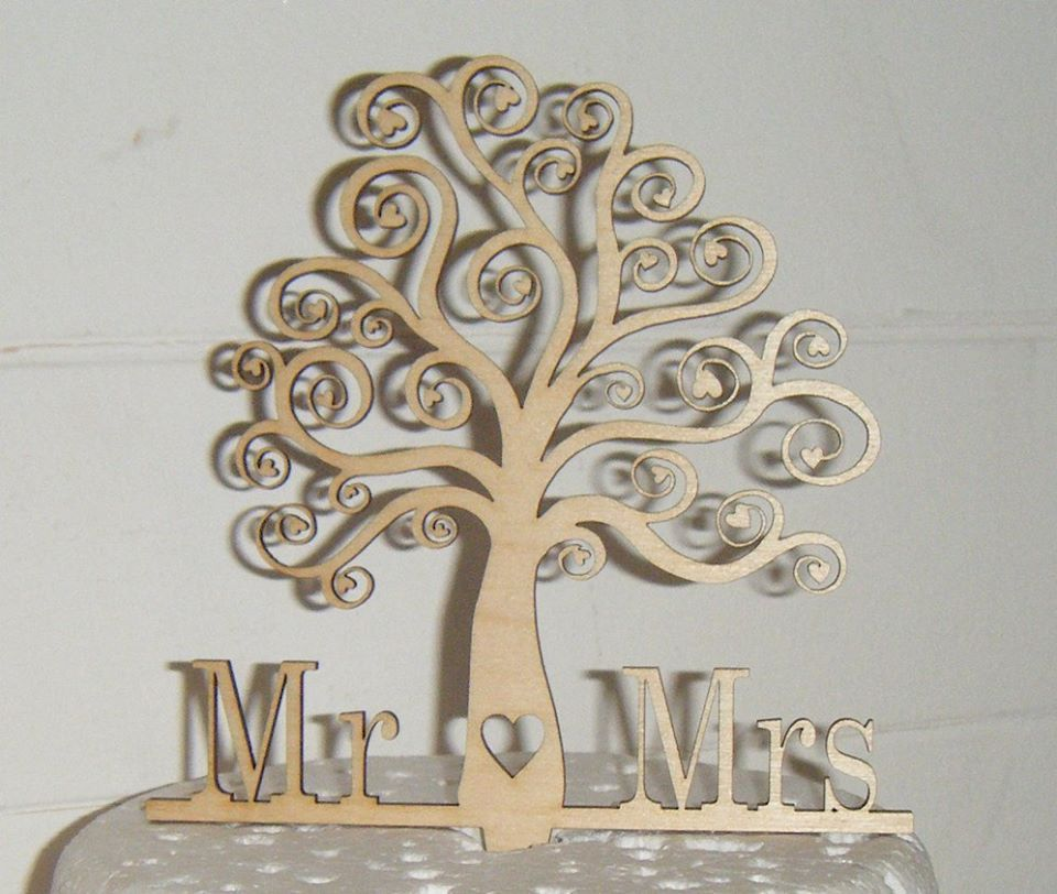 Mr + Mrs Tree Cake Topper