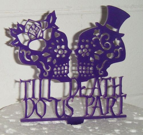 Til death do us part Skulls  Cake Topper