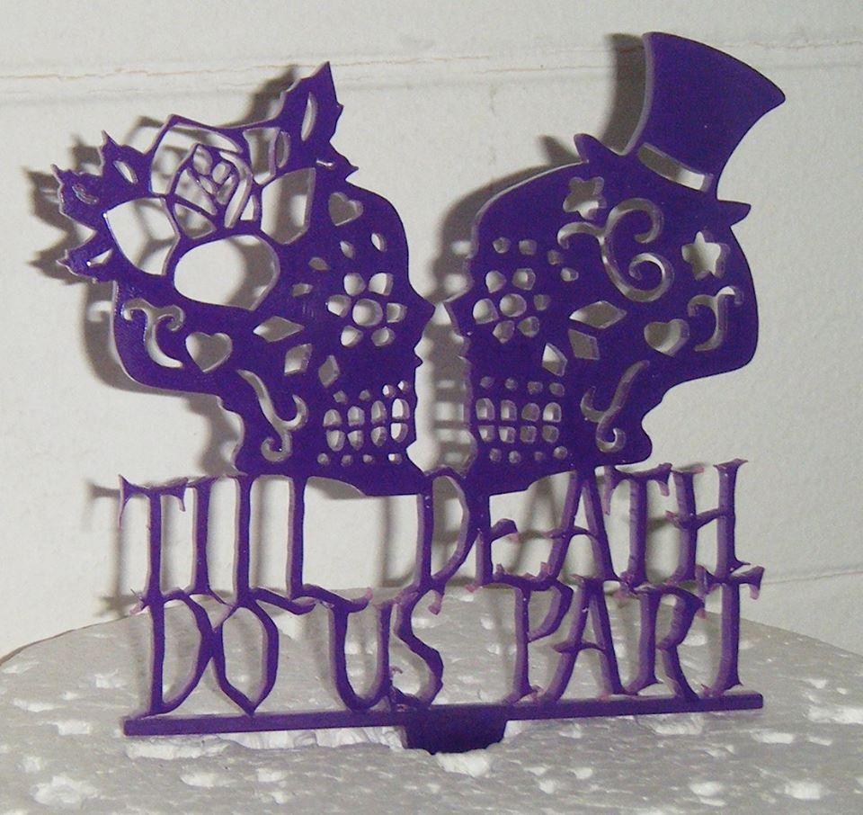 Til death do us part Skulls  Cake Topper