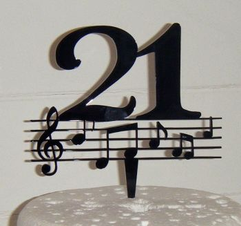 21 Music note  Cake Topper or any number in same style