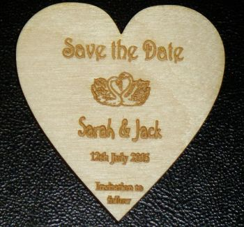 Personalised Wooden Save the date Heart Fridge Magnets