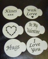 6 x LOVE Valentine designs cupcake Stencils