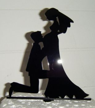 Pregnant Bride Wedding couple Silhouette Cake Topper