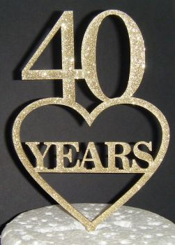 40 Years Heart birthday or anniversary Cake Topper or any number