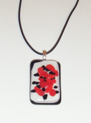 Large Red and Black Glass Pendant Necklace