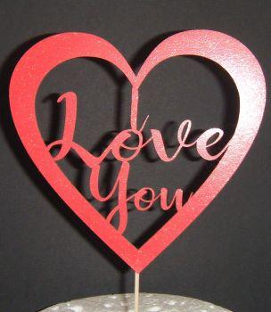 I love you Heart  Cake Topper