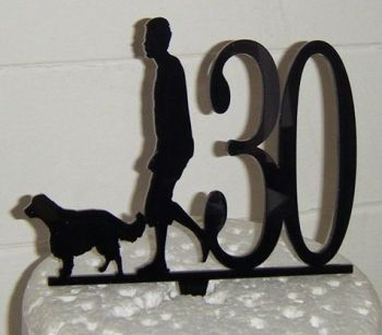 Man dog and any number Silhouette Cake Topper