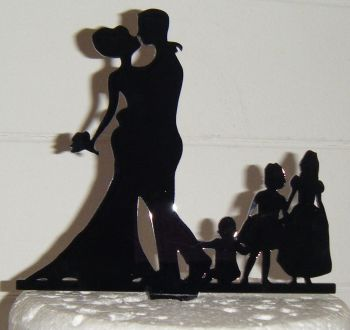 Wedding couple family Silhouette Cake Topper 2