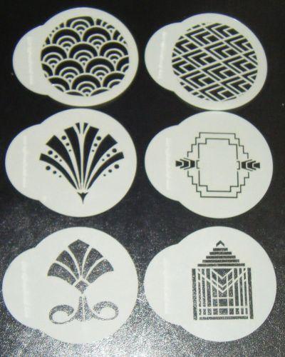 6 x Art deco designs cupcake Stencils
