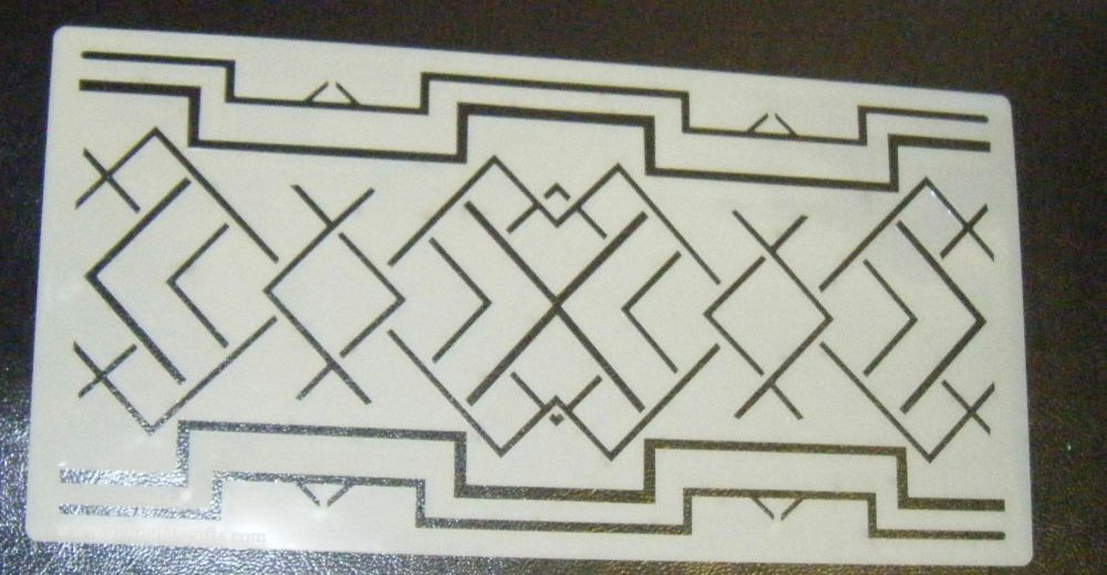 Art Deco Long Squares Pattern Cake Decorating Stencil Airbrush Mylar Polyester Film