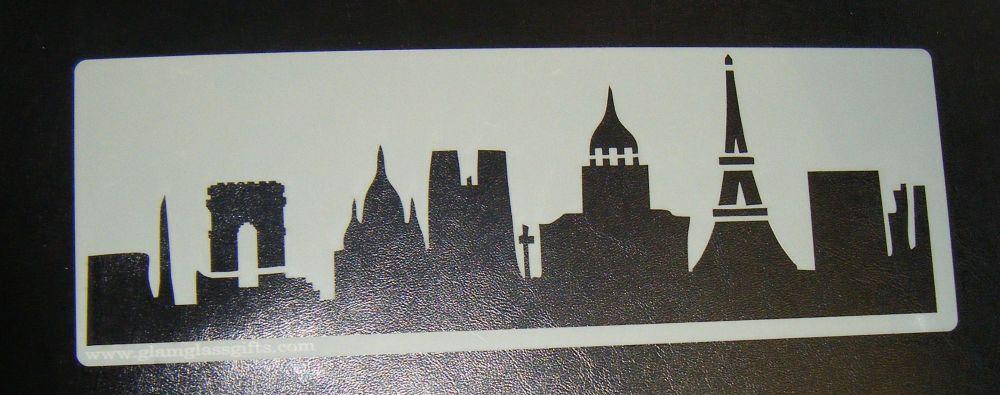 Paris Eiffel Tower Skyline Cake decorating stencil set Airbrush Mylar Polye
