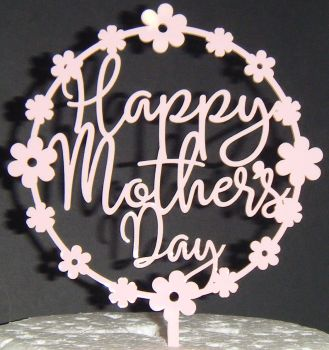 Happy Mother's day Flower Circle Cake Topper