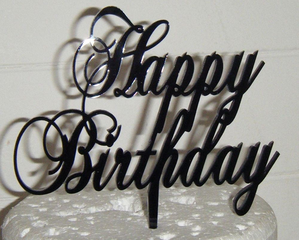 Happy Birthday Cake Topper Swirly