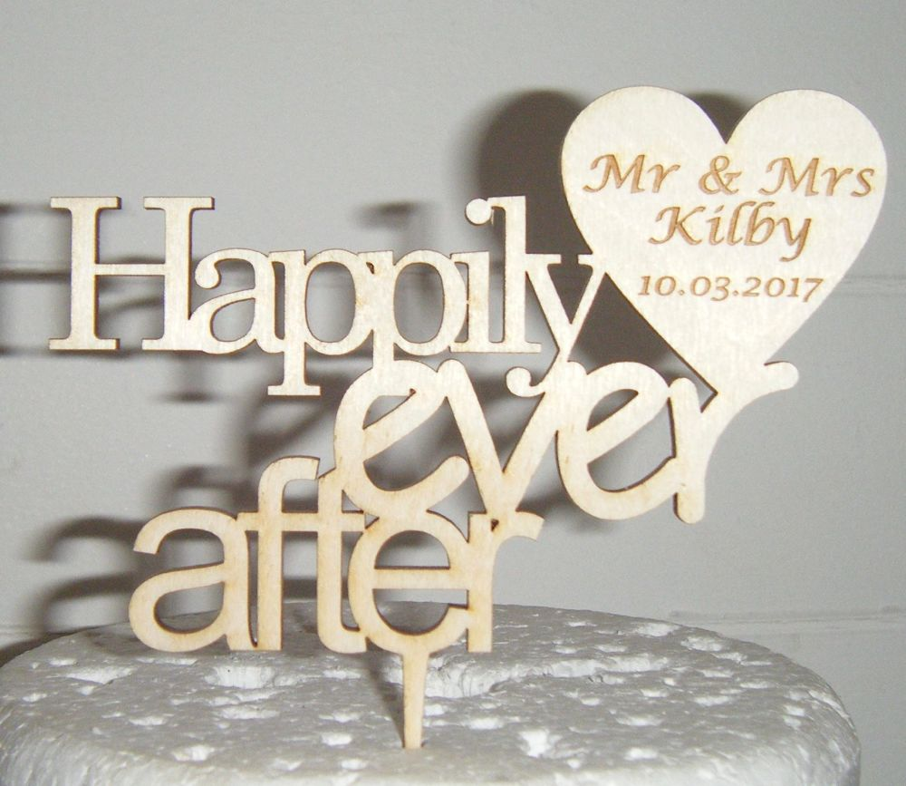 Happily Ever after with custom heart Cake Topper