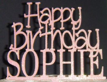 Happy Birthday and Name  Topper Custom made