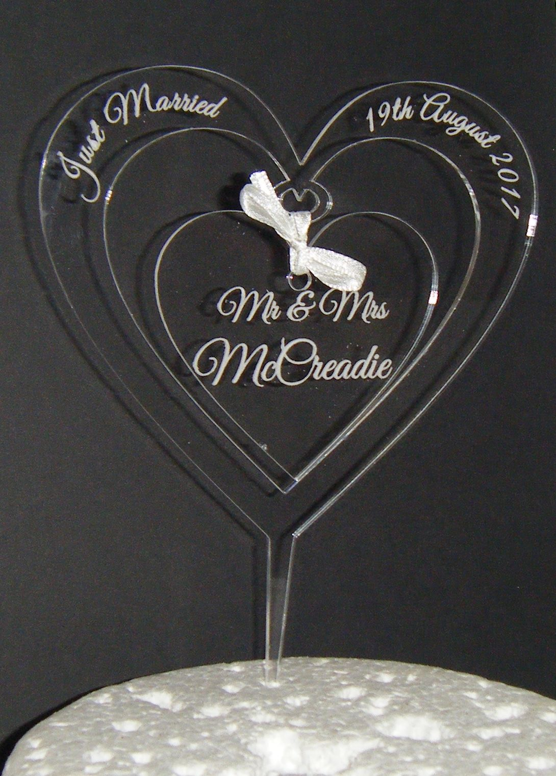 Mrs + Mr Name CLEAR ENGRAVED Heart  Cake Topper