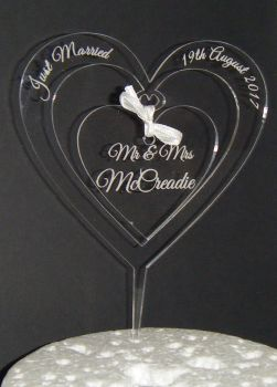 Mr + Mrs Name CLEAR ENGRAVED Heart  Cake Topper