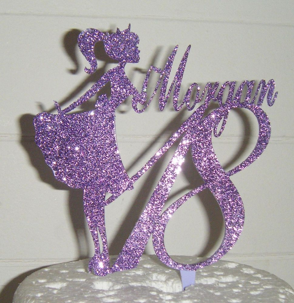 Name number and girl silhouette  Topper Custom made