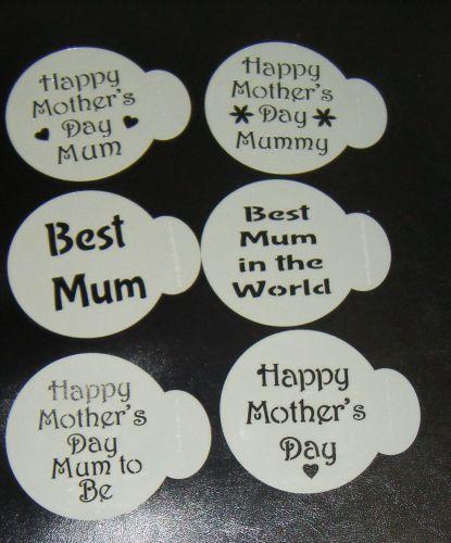 6 x Mother's day Best Mum cupcake Stencils