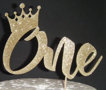 Number One with Crown Cake Topper
