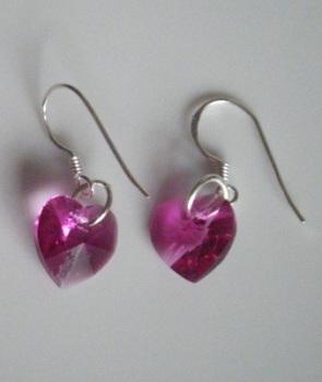 Rose Swarovski Crystal Heart Pink Earrings
