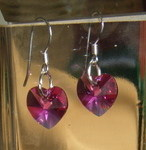 Rose Swarovski Crystal Earrings 925 Silver