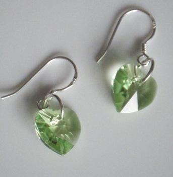 Peridot Swarovski Heart Shaped Crystal Earrings