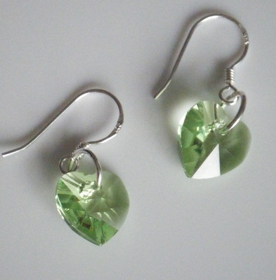 Peridot Swarovski Crystal Earrings 925 Silver