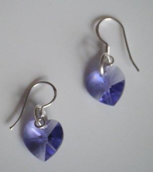 Tanzonite Swarovski Crystal Heart Earrings