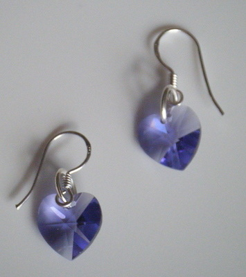 Tanzonite Swarovski Crystal Earrings 925 Silver