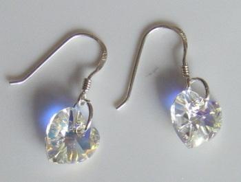 Clear AB Swarovski Crystal Heart Earrings