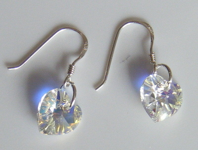 Clear AB Swarovski Crystal Earrings 925 Silver