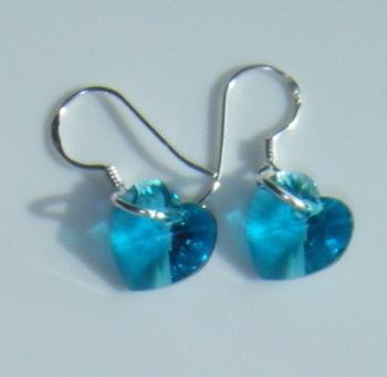 Aquamarine Swarovski Crystal Heart Shaped Earrings