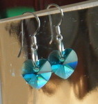 Aquamarine Swarovski Crystal Earrings 925 Silver
