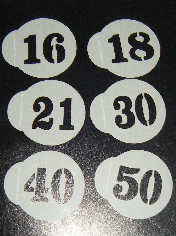 6 x Number designs cupcake Stencils