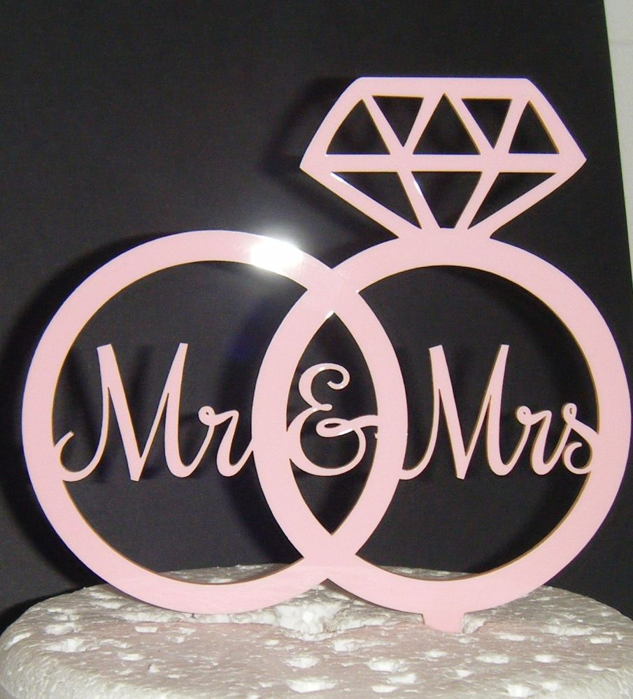 Mr + Mrs in rings Cake Topper