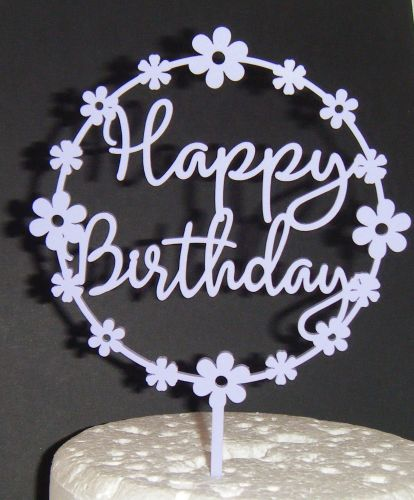 Happy Birthday Cake Topper Flower circle
