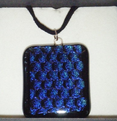 Dichroic Glass Pendant Peacock Blue Necklace