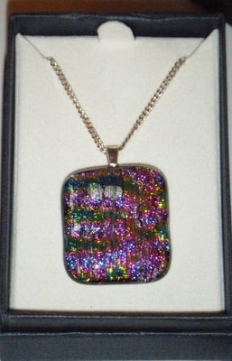 Rainbow Dichroic Glass Pendant 925 Silver Necklace