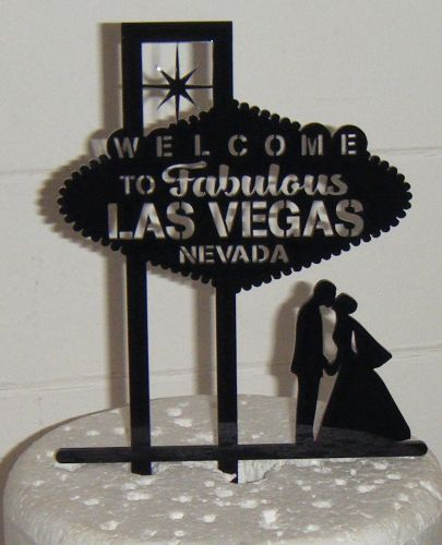 Las Vegas Wedding couple Silhouette Cake Topper