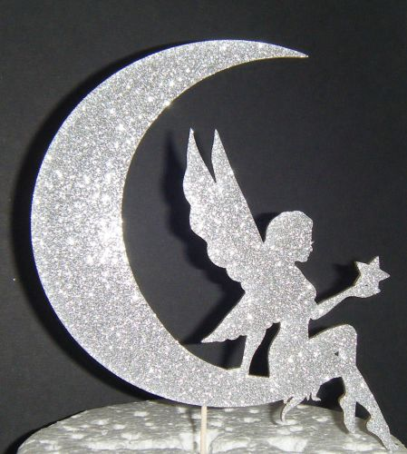 Fairy sitting on Moon Silhouette Cake Topper