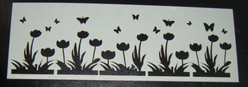 Tulip with butterflies flowers Cake decorating stencil Polyester Film