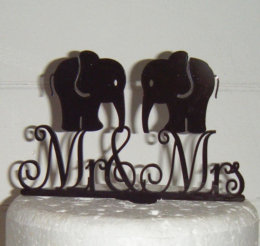 Mr & Mrs Wedding Elephant Silhouette Cake Topper