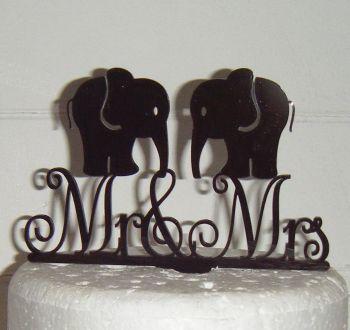 Mr & Mrs Wedding Elephant Silhouette Cake Topper  (or same sex)